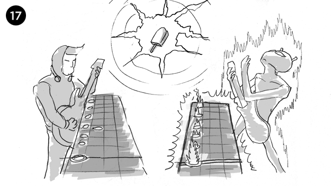 Cuando vemos que es el alien quien mejor lo hace y esta a punto de ganar, el PIXHELADO nuevamente comienza a destellar...
