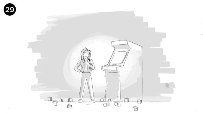 el niño al fin con su helado junto al arcade en el salón de videojuegos
