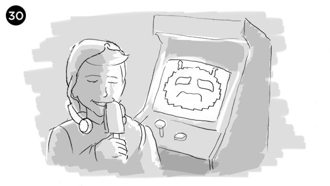 comienza el consumo del producto, mientras de fondo vemos al alien atrapado en el arcade haciendo gestos deenojopor perder