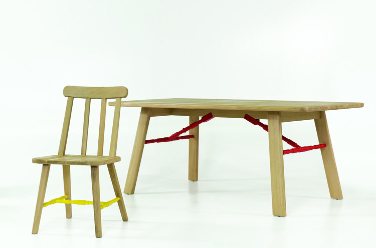 Affoltern Dining Table in red, Danja Dining Chairs in yellow