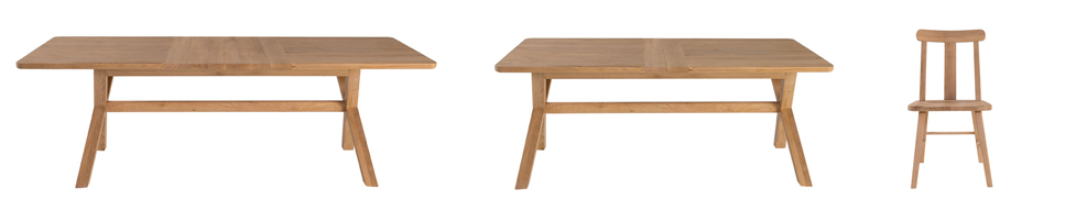L-R  Cardona Extending Dining Table  (185-230L x 95W x 75H) and  Titan Dining Chair  (53L x 45W x 88H) Both shown in solid oak with a natural lacquer finish.