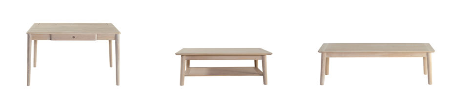 (L-R) Clapham Writing Desk (129L x 72W x 76H) Clapham Coffee Table (120L x 65W x 39H) and Clapham Dining Bench (140L x 42W x 46H) shown in white washed solid oak