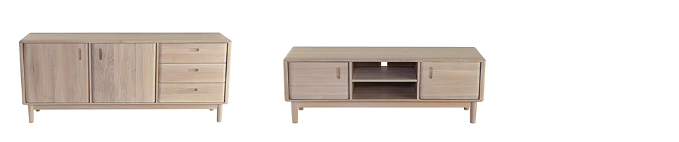 (L-R) Clapham Sideboard (185L x 45W x 77H) and Clapham Sideboard (185L x 45W x 77H) Shown in white washed solid oak