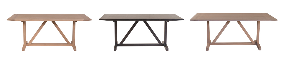 Allenmoos Dining Table (185L x 92W x 75H) Shown (L-R) solid oak natural finish, solid oak stained black and solid oak grey wash
