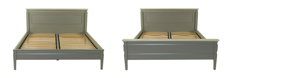 (L-R) Precotto Bed with Low Foot, Precotto Bed with High Foot 212L x 103H - To suit mattress sizes: 90cm/140cm/160cm/180cm Shown in painted solid pine