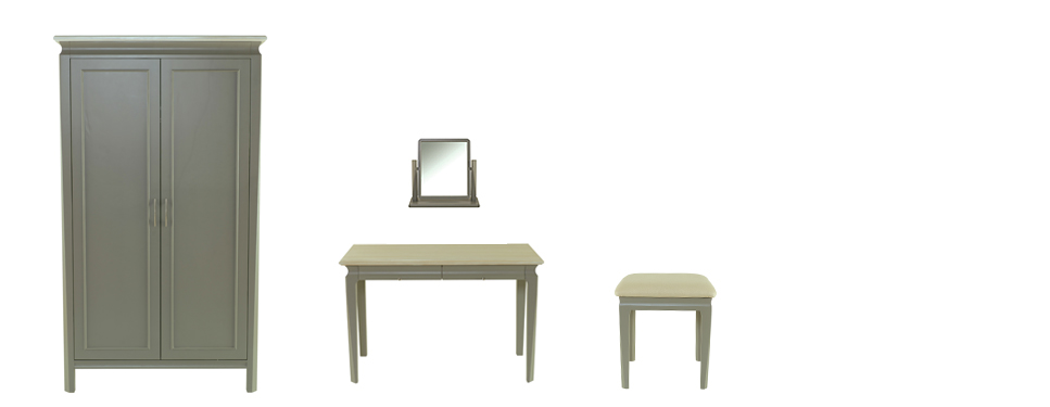 Precotto Wardrobe  (115L x 65W x 199H),   Precotto Dressing Table  (115L x 65W x 72H),  Precotto Dressing Table Mirror  (52L x 20W x 50H),  Precotto Bedroom Stool  (43L x 43W x 46H) Shown in painted solid pine
