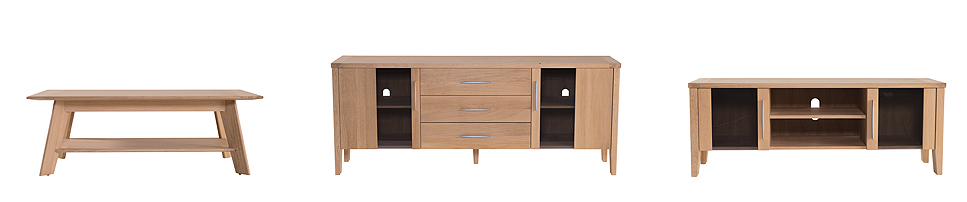 (L-R)  Garibaldi Coffee Table  (125W x 62L x 44H),  Garibaldi Sideboard  available in 2 sizes (200W x 45L x 80H) or (160W x 45L x 80H) , Garibaldi Media Unit  (136W x 40L x 50H) Shown in solid oak with natural oil finish and smoked glass door panels