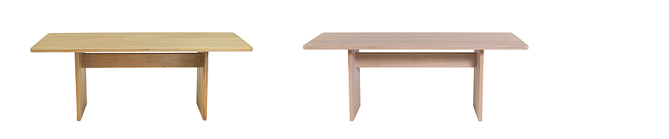 Gliben Dining Table (200W x 90L x 75H) (L-R) Shown in solid oak with grey wash and solid oak with natural lacquer finish