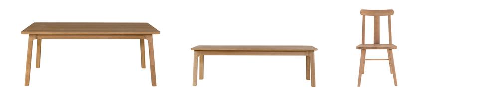 (L-R) Giola Dining Table (185 x 92W x 77H), Giola Dining Bench (150L x 42W x 46H), Titan Dining Chair (53L x 45W x 88H) Shown in solid oak with a natural lacquer finish