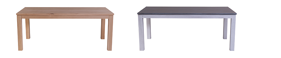 Soloman Dining Table  (185L x 90W x 75H) (L-R) Shown in solid oak with natural lacquer and white washed base with grey washed top