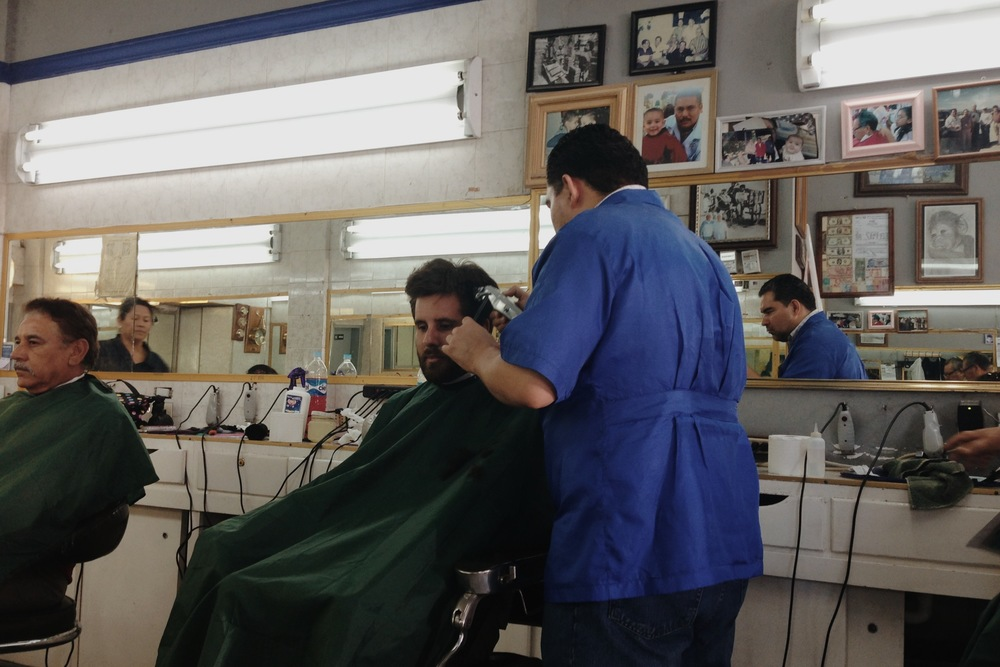 At the barber's in La Paz.