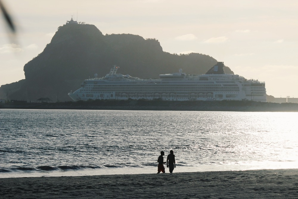 The Norwegian Star leaving port, as seen from Stone Island, looking towards Mazatlan.