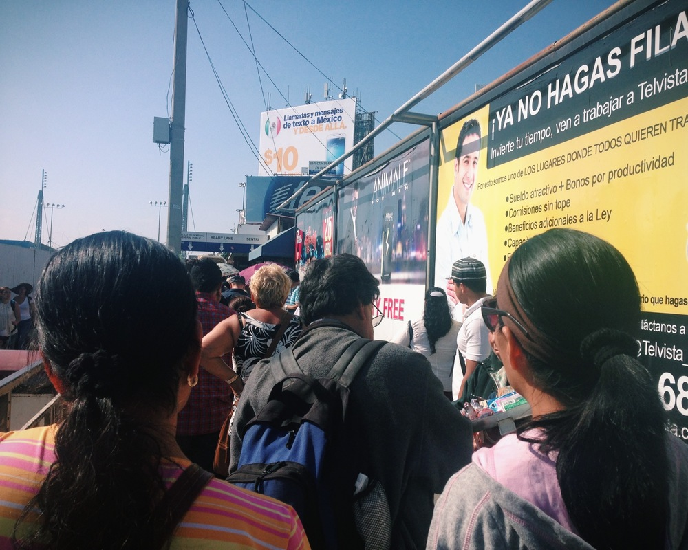 Waiting in line at the Tijuana border