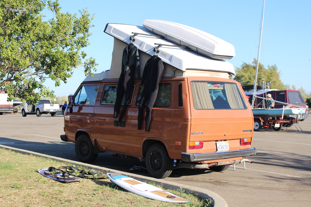 A quick trip to Sherman Island for some kitboarding. The Westy makes an excellent wet suit dryer.