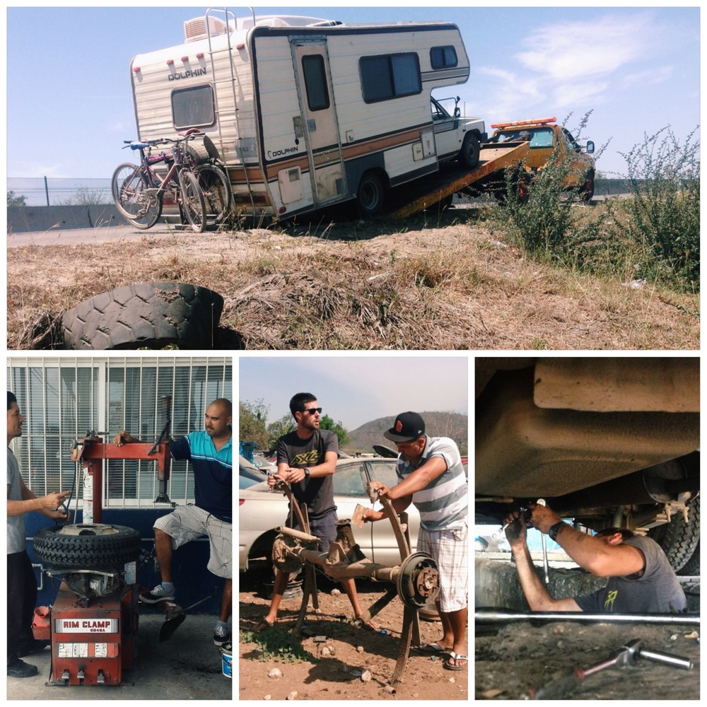Our second sketchy tow in Mexico.  Danny was a wonderful friend and took us to mechanic shops and junk yards to help translate and get us back on our feet. Bottom right: Cameron jumps into a pit at a shop to do some wrenching.