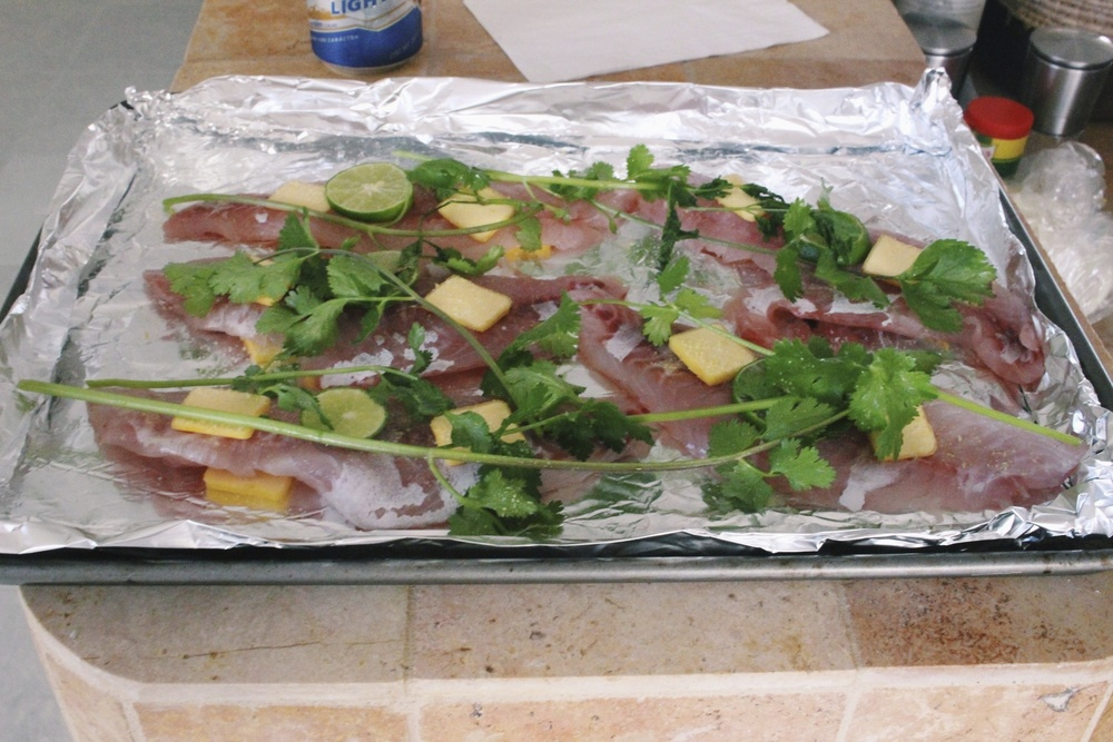 Our fresh fish waiting to go on the grill.  A bit of butter and cilantro, salt and pepper was all you needed.