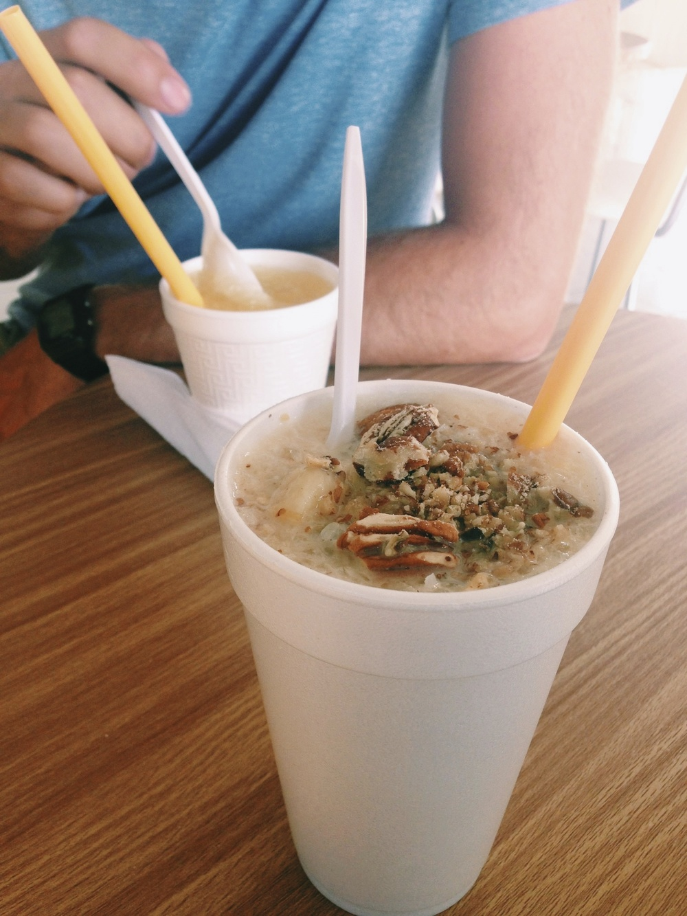 Raspados: a perfectly refreshing treat.  I like mine with nuts, bananas and coconut.