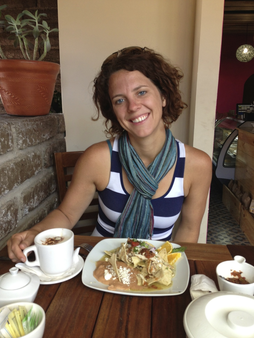 A nice breakfast out (the day after the accident) in Tepic, Mexico. OMG a cappuccino!