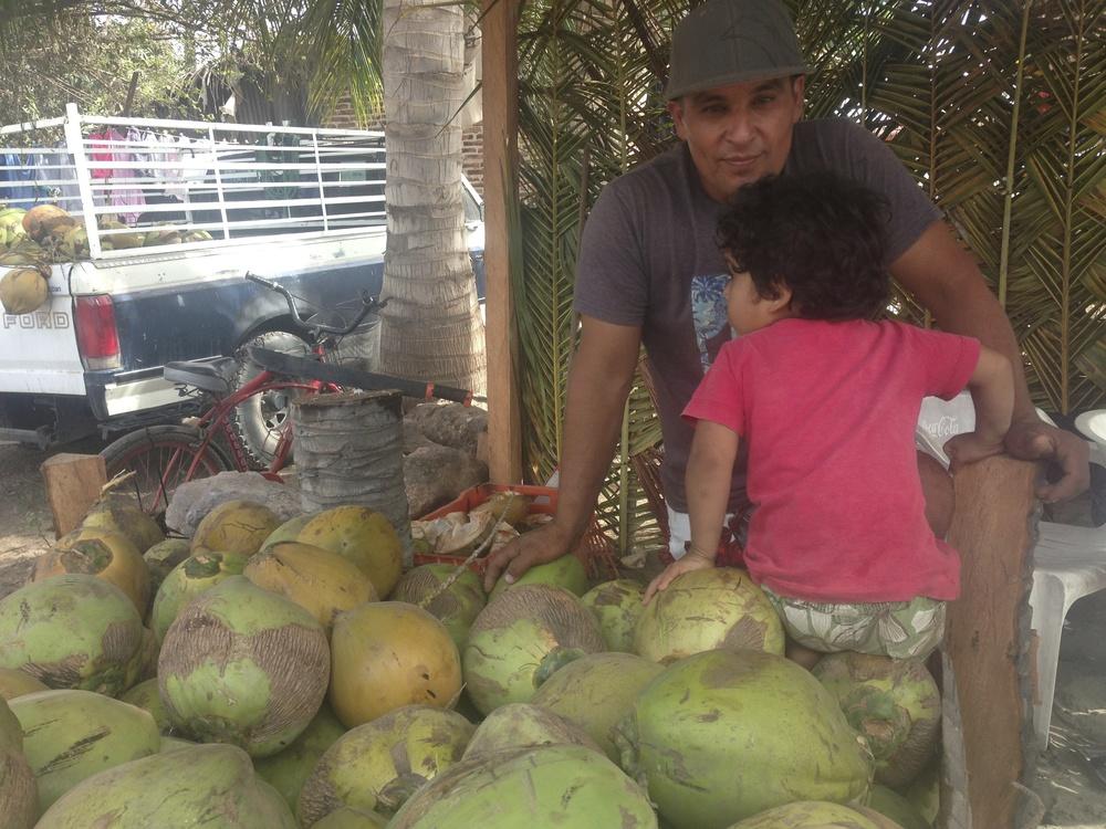 Renee set up a stand selling cocos during Semana Santa. This area of Mazatlan, Isla de la Piedra, has thousands of coconut palms.