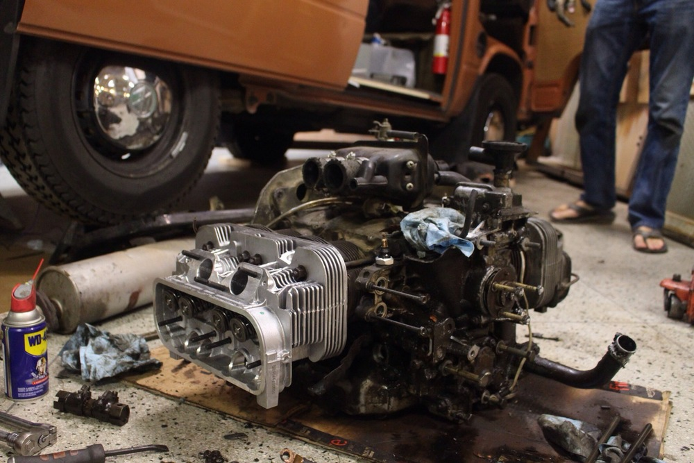 aircooled vanagon to m tdi swap part 1 pre swap prep follow new cylinder heads on our 2 0l aircooled motor