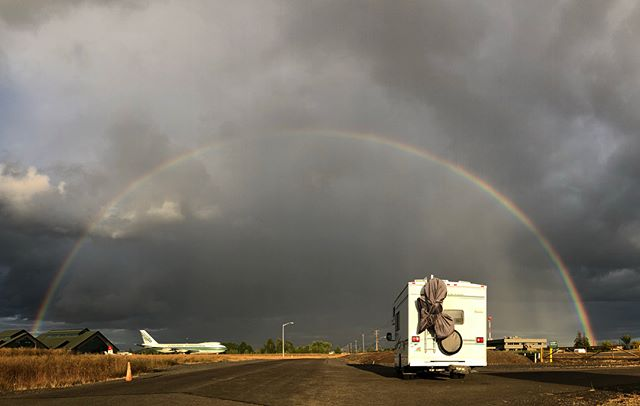 Our awesome site for the night greeted us with these!! 🌈 ✈️
