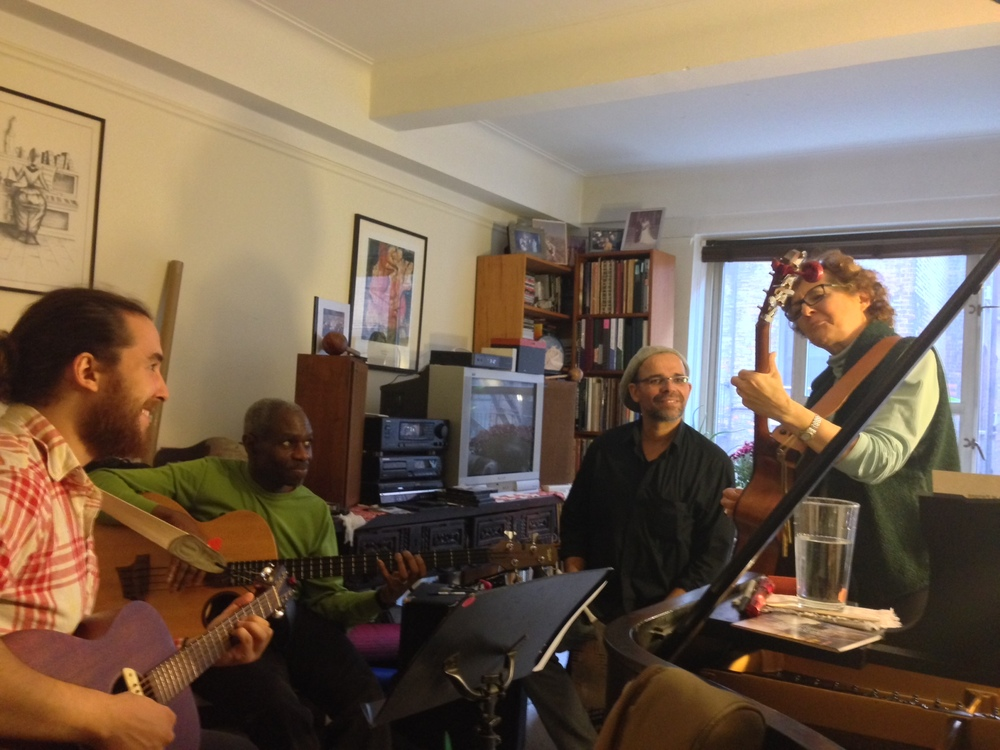 Earlier that same day -- rehearsing with -- left to right:  Nick Lerangis (cowriter of much of Tuckerman's Ravine, and producer of the CD, guitarist, vocalist and my son; and on bass, Jerome Harris, bassist and colleague and friend from long before Nick was born! And Nanny Assis, Brazilian jazz percussionist, who brings samba and sunshine with him wherever he goes!