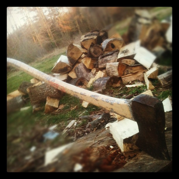 Splitting wood is poetic, therapeutic & pensive (Taken with Instagram at My house)