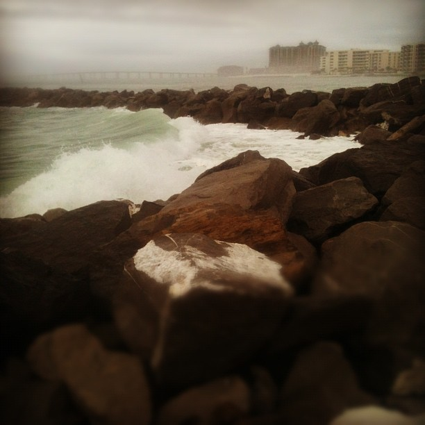The Gulf is mighty today! (Taken with Instagram at O'steen Beach)