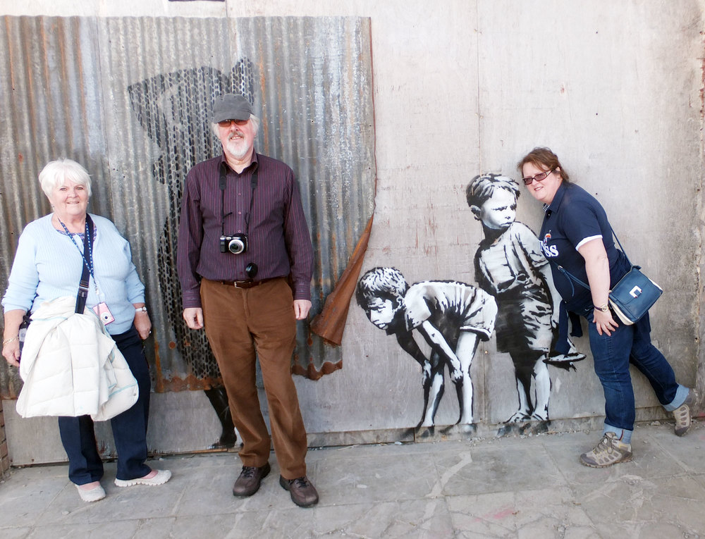Photo-bombing  a Banksy