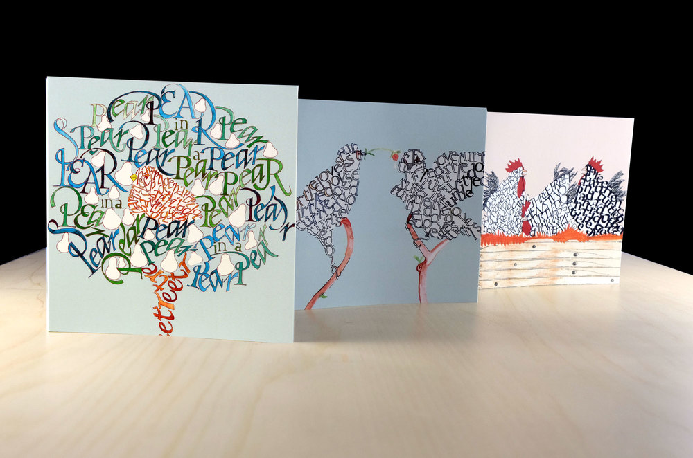 A pack of 6 quality calligraphic Christmas cards and envelopes.  Illustrations featured are Partridge in a Pear Tree, Two  Turtledoves  and Three French hens.  Pack contains 2 of each design.