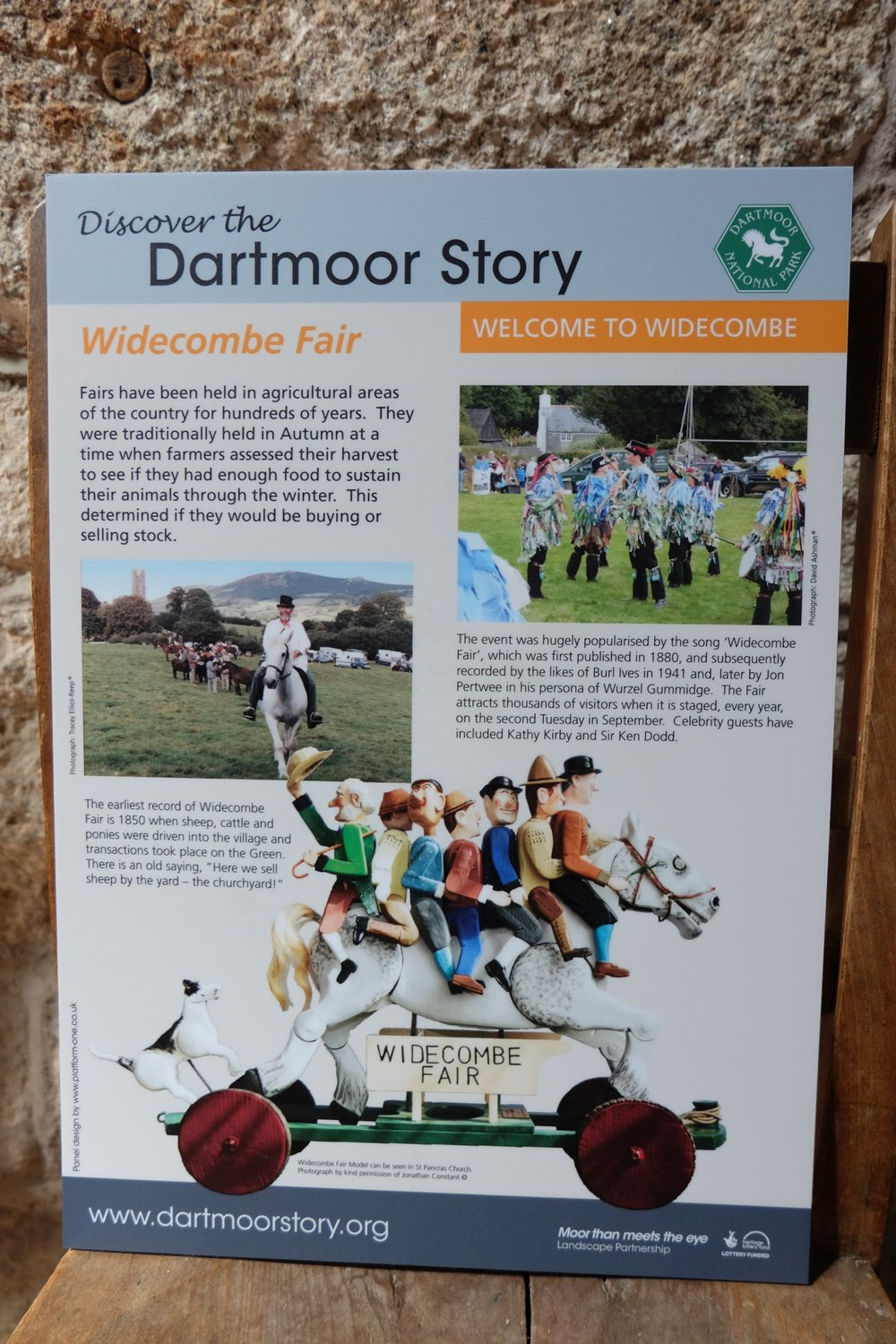 Widecombe Fair panel can be found in the Gift shop with a more extended panel housed at the Rugglestone Inn.