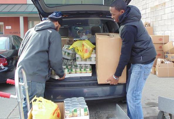 unloading a food drive