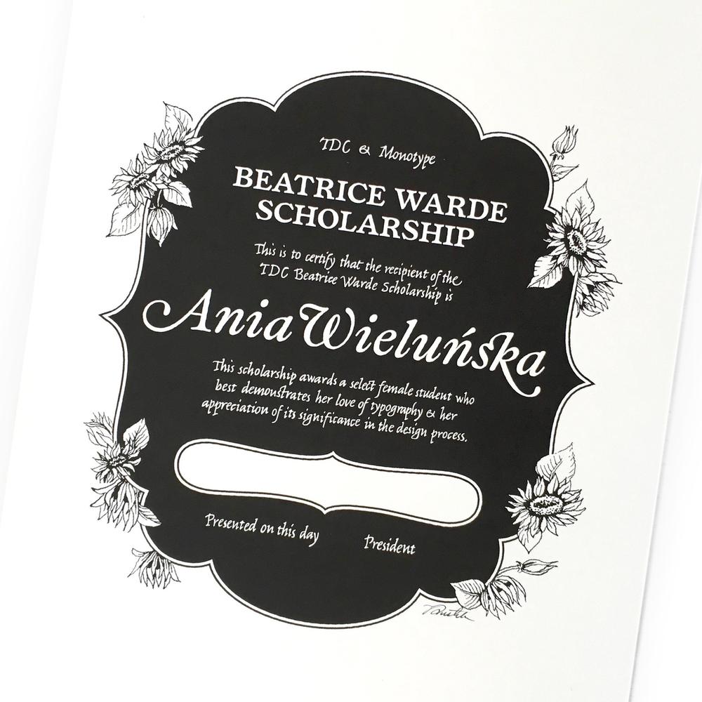 Beatrice Warde Scholarship Certificate