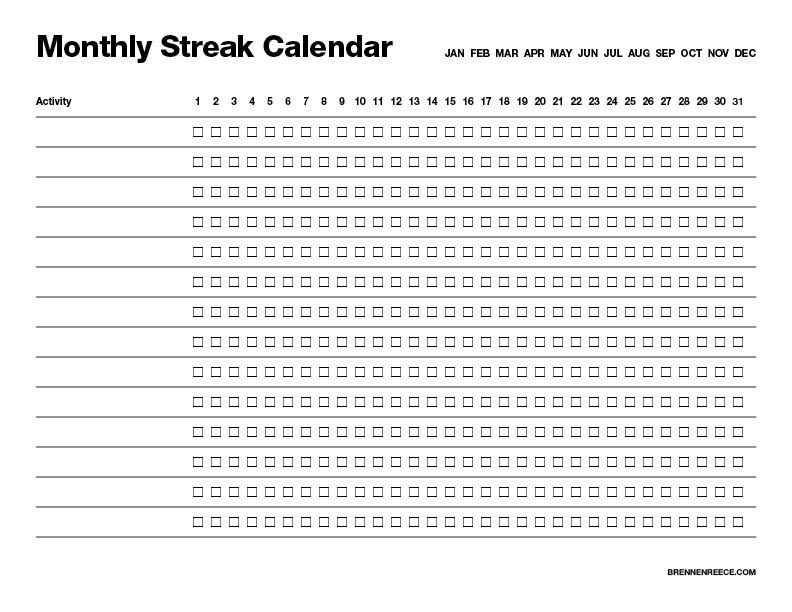 Download the Monthly Streak Calendar (pdf)