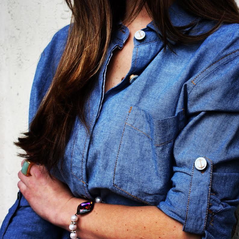 Forema Denim Shirt Dress + Anchor Button Covers