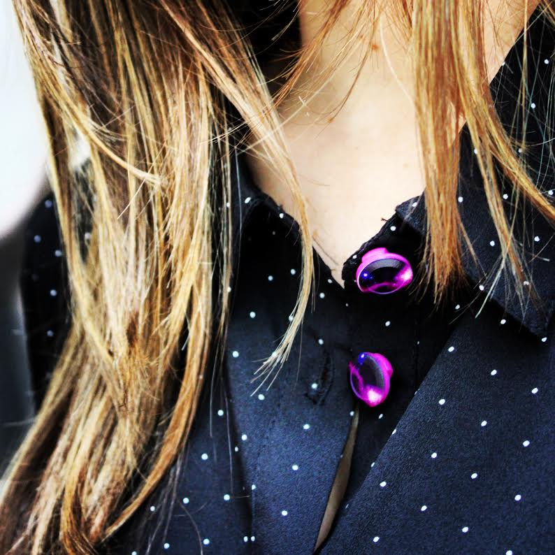 Forema Polk-a-dot Blouse + Galaxy Button Covers
