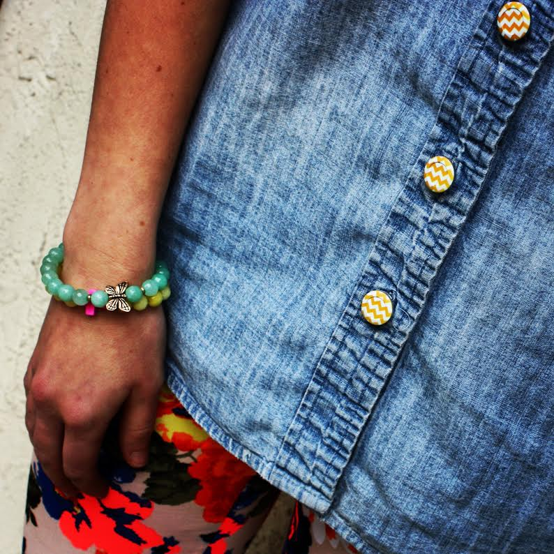 Forema Floral Graphic Leggings + Bead Bracelets + Gold Chevron Button Covers