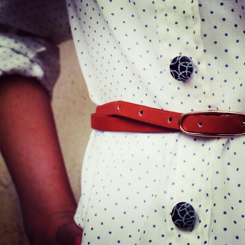 Forema Polk-a-dot Blouse + Belt + Nautical Button Covers
