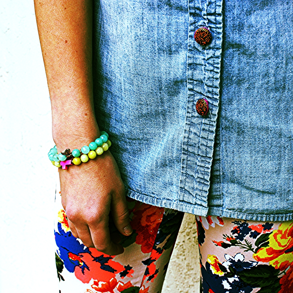 Forema Graphic Floral Leggings + Bead Bracelets + Leopard Button Covers