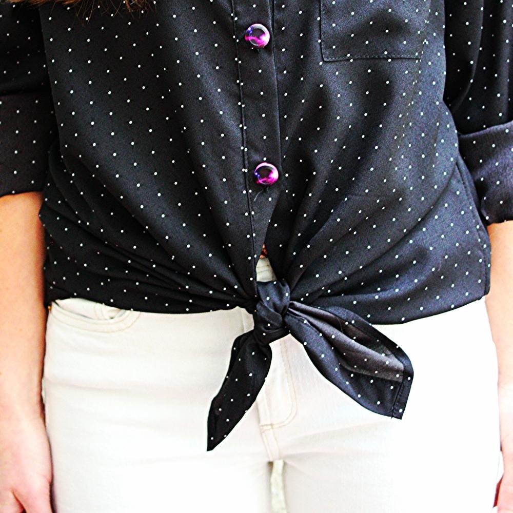 Forema Black Polk-a-dot Blouse + Galaxy Button Covers