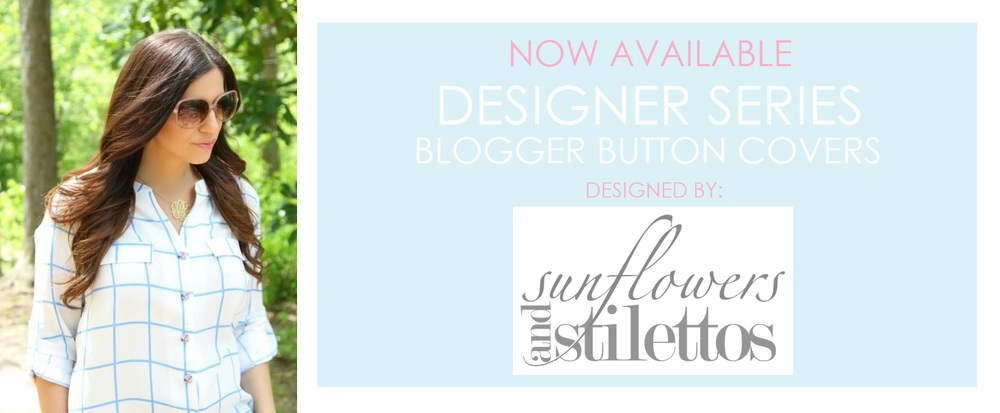 Sunflowers and stilettos button covers