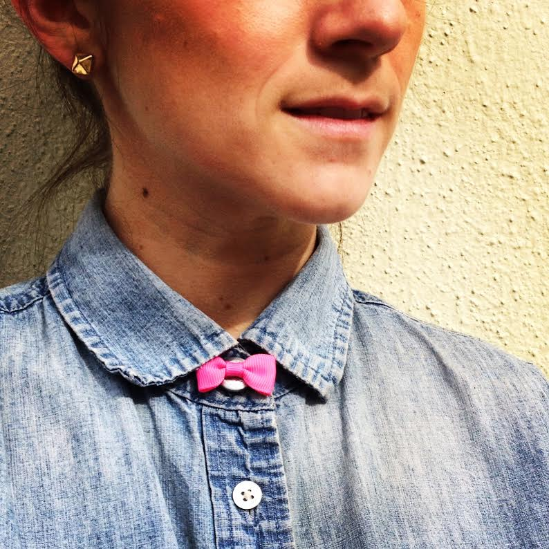 Pink Mini Bow Tie Button Cover