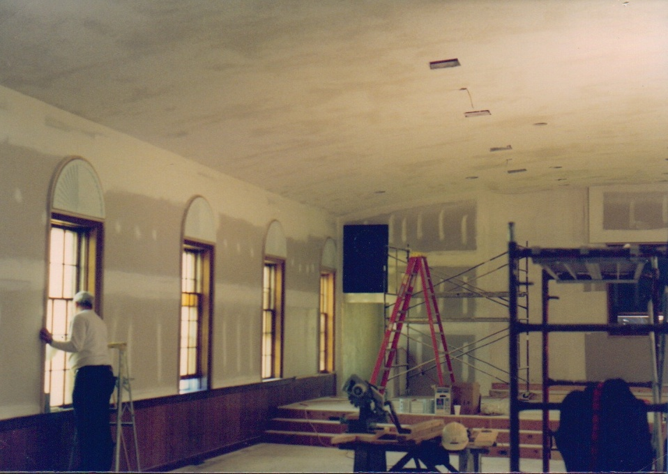 The sanctuary being remodeled in 1996.