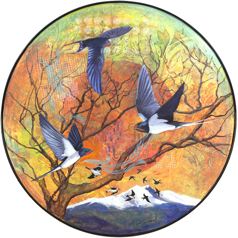 Swallow Sonata  by Boulder Artist Margaret Donharl. Featured in the 2018 NoBo Arts District exhibition,  Flight .