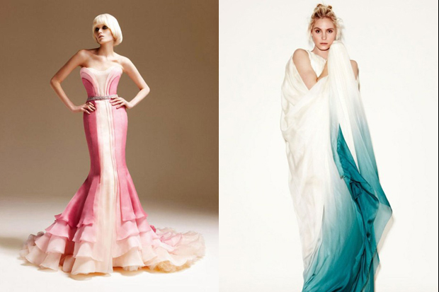dramatic and richly colored ombre effect wedding gowns.