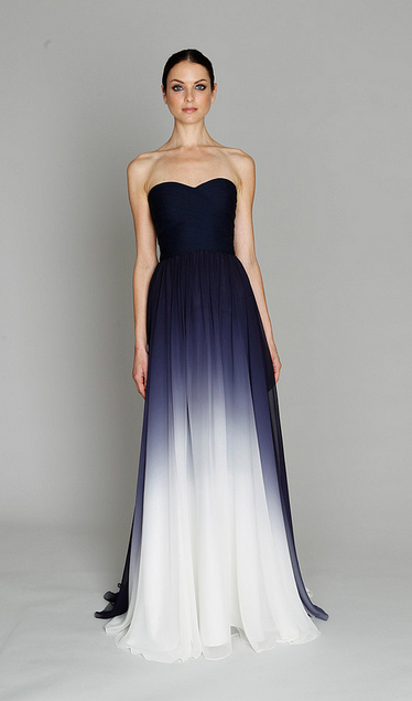 deep blue gradual ombre to white wedding gown