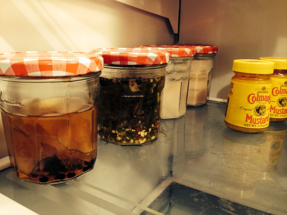 Pickled things, plus several ounces of rendered bacon fat.