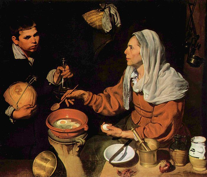 """Oi, Mum, wot's wiv dem eggs?""  High tension in Velazquez's  Old Woman Poaching Eggs,  1618."