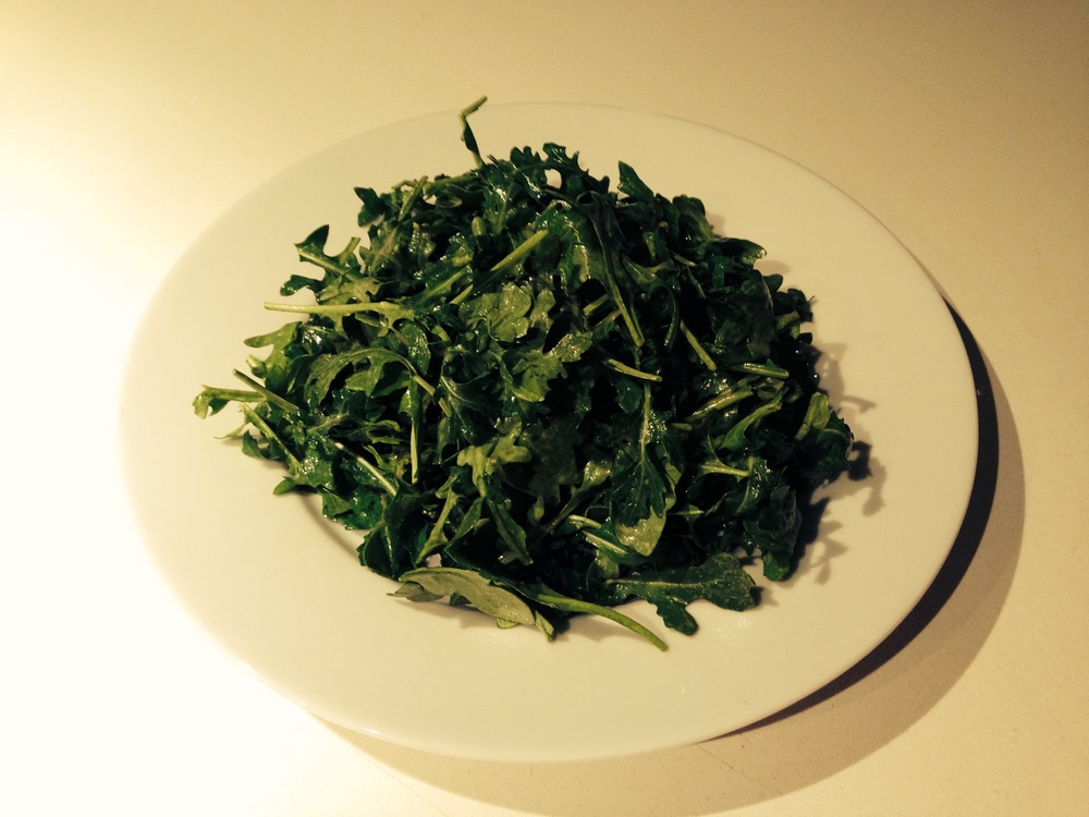 Lightly dressed baby arugula (rocket) is difficult to top as a first course or side dish.
