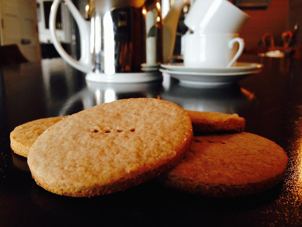 Biscuits awaiting tea.